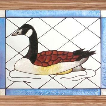 Bird Canada Goose Horizontal Stained Art Glass Panel