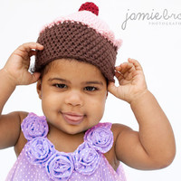 Crochet Cupcake Hat Available in 0-3 Month or 3-6 Month Size Perfect Newborn Photo Prop