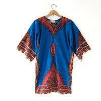 Vintage INDIAN Dashiki Blouse. Boho Ethnic Tunic. Boho Hippie Gypsy Shirt. Festival blouse. Tribal shirt.