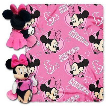Minnie Mouse Cheerleader Houston Texans NFL Throw and Hugger Pillow Set