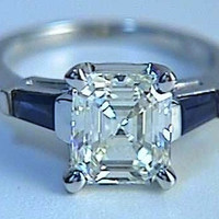 2.39ct Asscher Cut Diamond Engagement Ring GIA certified Anniversary Bridal Gift JEWELFORME BLUE