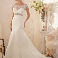 Mori Lee 2620 Lace Low Back Wedding Dress