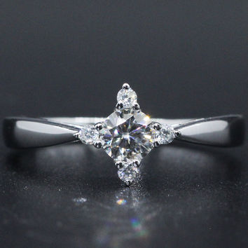 Slender Ladies Wedding Engagement Rings Stars 925 Sterling Silver 0.4ct Moissanites Lab Grown Diamond Women Ring Silver Jewelry