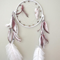 Fairytale Summer White and Purple HUGE Native American Dream Catcher
