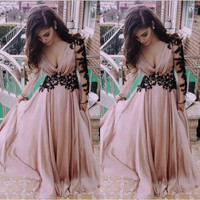 2016 New a line vestidos de baile pleats pleated prom gown dresses v neck lace long prom dresses formal dresses prom dress
