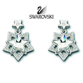 Swarovski Clear Crystal JEWELRY Star Pierced Earrings HELEN Rhodium #1024282
