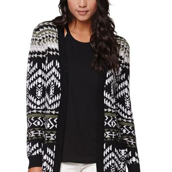 Roxy Open Midi Jacquard Cardigan - Womens Sweater - Black