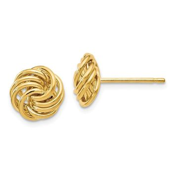 14k Gold 11 mm Polished Love Knot Post Earrings