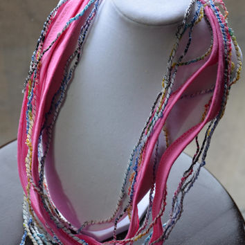 Multicolor Summer Scarflette, Pink Blue Yellow Summer Scarf, Infinity T shirt Scarf
