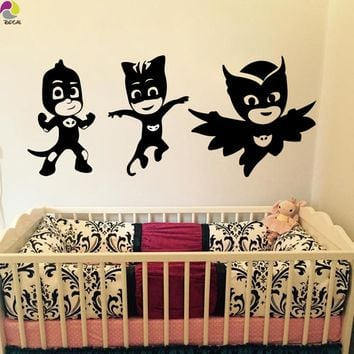 Cartoon set of 3 PJ Masks Wall Sticker Baby Nursery Kids Room Cat Boy Owlette and Gekko Decal Children Room Vinyl Home Decor Art