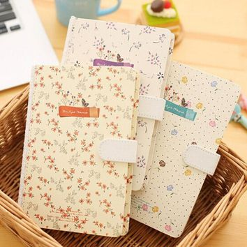 New Cute Floral Flower Schedule Book Diary Weekly Planner Notebook with Magnet buttonSchool Office Supplies Kawaii Stationery