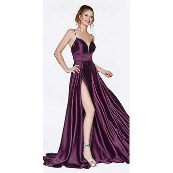 Long A-Line Gown Eggplant With Deep Sweetheart Neckline And Leg Slit