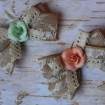 "BABY BOWS, toddler girl, set of 2 4"" burlap lace bows, light coral peach, mint green, shabby, rustic, flower girl, rose, tute monde, wdw,"