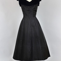 1950s Black Taffeta Evening Dress with Velvet Top and Beading