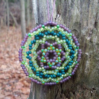 Huichol Beaded Suncatcher/Christmas Mandala Ornament,Green/Lavender
