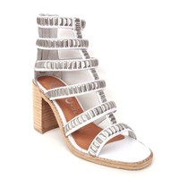 Jeffrey Campbell – Potomac Gladiator Sandals In White Leather/Silver Studded|Thirteen Vintage