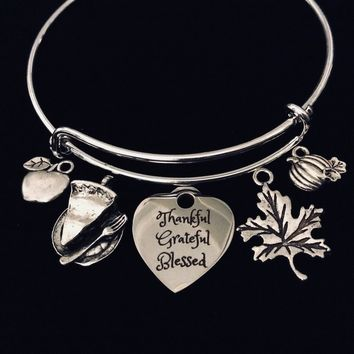Thankful Grateful Blessed Silver Adjustable Charm Bracelet Bangle Expandable One Size Fits All Gift Thanksgiving Jewelry