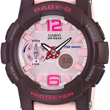 Casio Ladies Baby-G - Analog / Digital - Pink & Brown - Tide Graph Feature