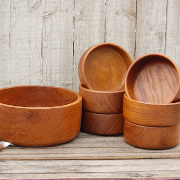Salad Bowl Set, Teak, Vintage, Wood, Mid Century, Danish Modern, Salad Serving Set