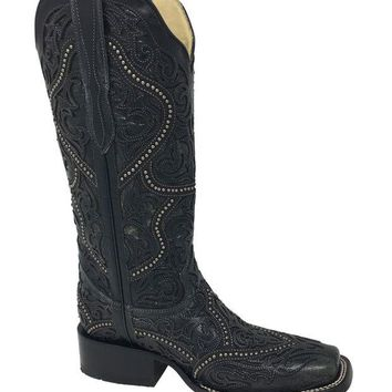 ONETOW Corral Black Full Overlay & Studs Square Toe Boots