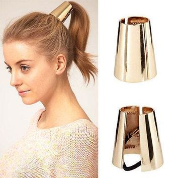 2015 New Fashion Hair Ring Punk Rock Metal Circle Ring Hair Cuff Wrap Ponytail Holder Band