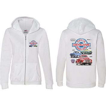 Ladies Ford Pickup Trucks Full Zip Hoodie Front and Back