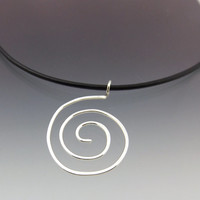 Sterling Silver Spiral Pendant on Leather Necklace
