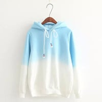 Gradient Color Korean Hooded Long Sleeves Hoodie