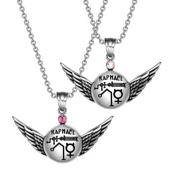 Archangel Raphael Magic Planetary Amulets Set Angel Wings Pink and Rainbow Crystals Pendant Necklaces