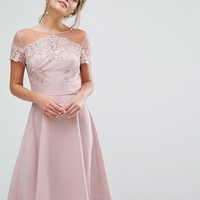 Chi Chi London Embroidered Lace Midi Dress With Full Satin Skirt at asos.com