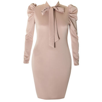 Blouse Neck Suiting Dress, Nude
