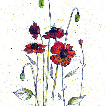 Colorful garden of red poppies. 11x14 watercolor print with pen & ink. growing flowers watercolor artwork good for office or living room