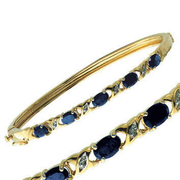 Genuine Sapphire and Diamond Accent Bangle Bracelet