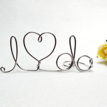 Wedding Cake Topper- I Do Wire With Heart- Silver or Brown