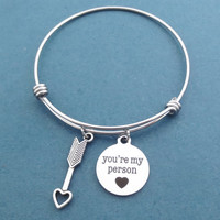 Cupid's arrow, You're my person, Silver, Bangle, Bracelet, Love, Arrow, Bangle, Birthday, Lovers, Best friends, Gift, Jewelry
