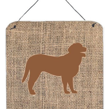 "Caroline's Treasures Curly Coated Retriever Burlap and Brown Wall or Door Hanging Prints, 6 x 6"", Multicolor"