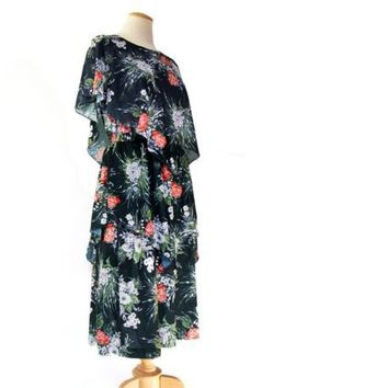 Vintage 1970s Boho Hanky Dress Sheer Black Floral Stretch Knit Large