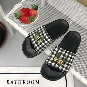 Pineapple Grids Embroidered Slipper Shoes