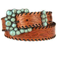 Shop Women's P Diamond Designs Tan Scrollwork Belt With Turquoise Buckle