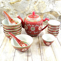 Vintage Chinese Tea and Soup Set for Six
