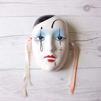 Vintage Hand Painted Glazed Porcelain Mardi Gras Face Mask with Ribbon for Hanging | Wall Decor | Made in Taiwan Republic of China