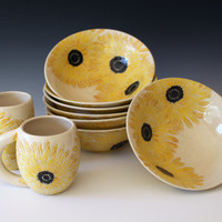 Handmade Thrown & Carved Sunflower Bowls.