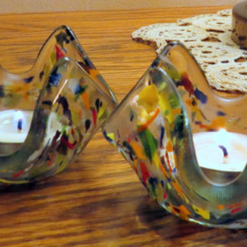 Fused Glass Candle Holders, Wonderful Group of Colors of Glass, Statteam
