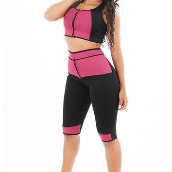 Two Piece Zip Crop Top Plus Size Firm Control Shapewear