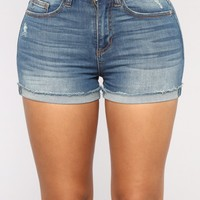 Let's Play High Rise Shorts - Medium Blue Wash