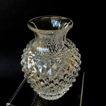 Vintage Small Crystal Vase, Hand Cut Crystal Vase, Hob Nail Cut Miniature Posey Vase, Antique Small Flower Holder, Home Gift, Mom Gift