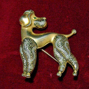 Damascene Poodle Pin, Black Gold Silver, Figural Dog Brooch, Mid Century Spanish Jewelry 917