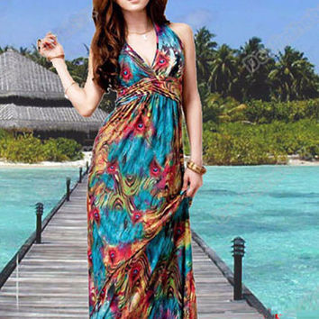 Exotic Paint Print Halter Neck Sleeveless High Waist A-Line Maxi Dress