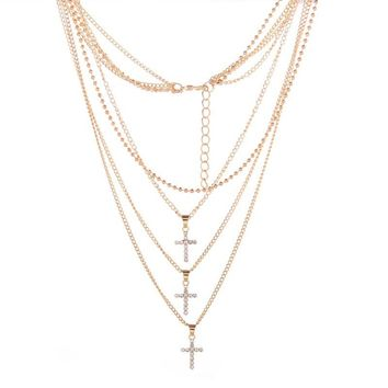 MJARTORIA 1PC Crosses Charm Pendant Necklaces Three Layers Necklaces With Link Chains Fashion Elegant Necklace Jewlery For Women