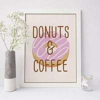 Donuts and coffee printable art, donut printable art, coffee printable art, food printable, donut print, instant download, digital print